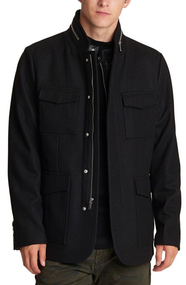 Karl Lagerfeld Paris Wool Blend Jacket, Size Small in Black at Nordstrom