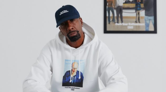 Actor J.B. Smoove sports a hoodie from the Kith x HBO Curb Your Enthusiasm capsule collection.