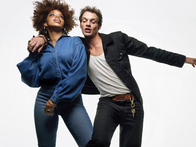 Mahogany Wade and Rocky Harwood couple up for Lee's fall-winter 2021 campaign.