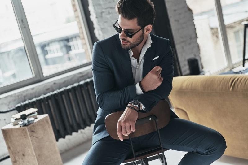 Male Model Sitting Suit