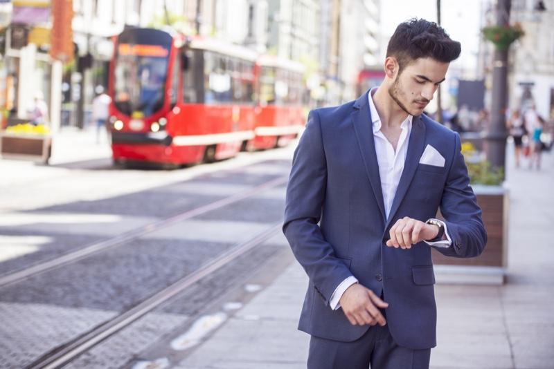 Man Blue Suit Looking Away Street
