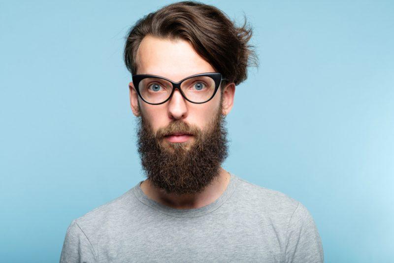 Man Wearing Cat Eye Glasses