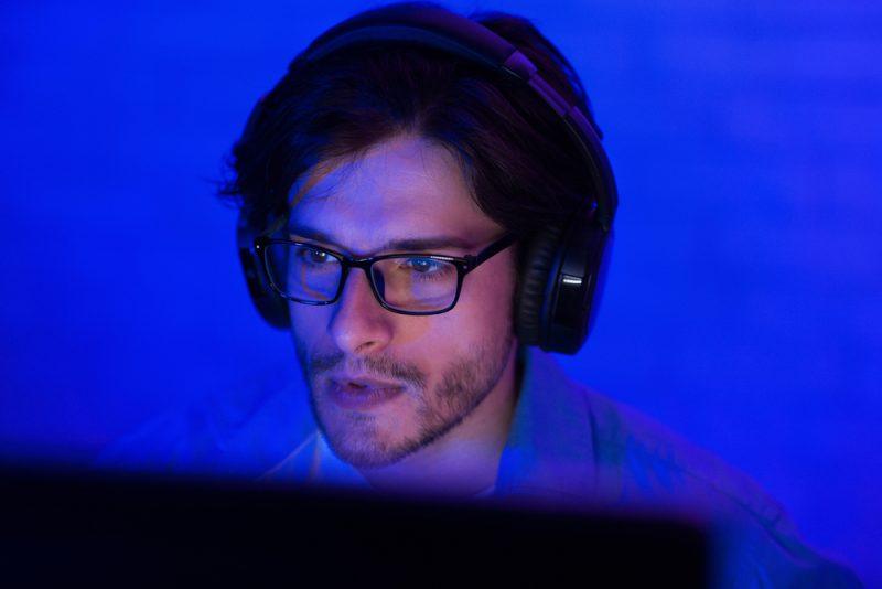 Man Wearing Glasses Blue Light