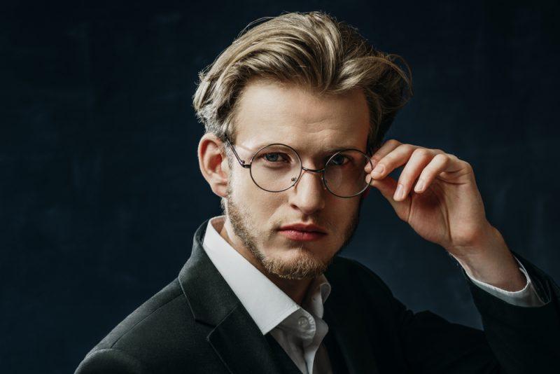 Man Wearing Thin Rim Glasses