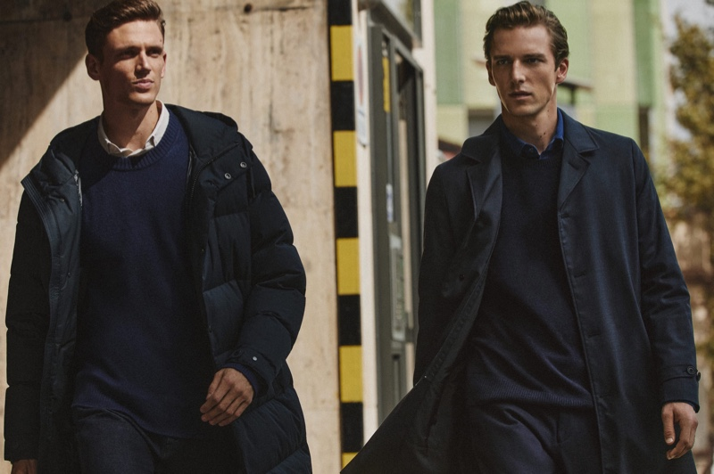 Models Xavier Gibson and Quentin Demeester head out for a stroll in sharp looks from Massimo Dutti.