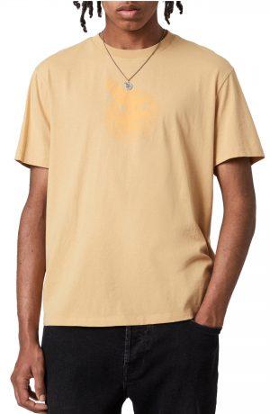Men's Allsaints Acid Eagle Cotton Graphic Tee, Size Small - Yellow
