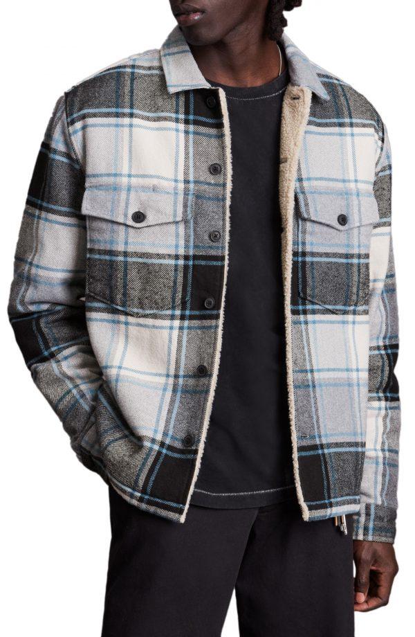 Men's Allsaints Ashtree Plaid Button-Up Shirt Jacket, Size Small - Grey