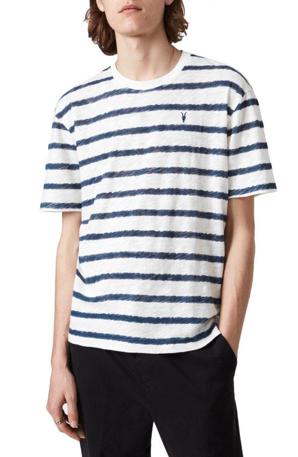 Men's Allsaints Bamford Stripe Crewneck T-Shirt, Size Large - White