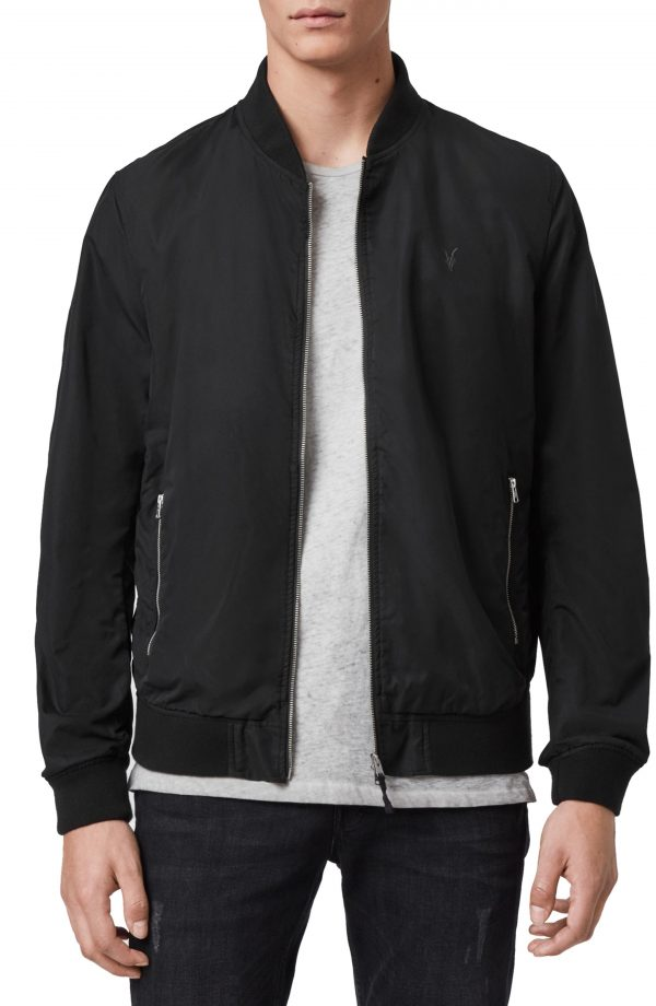 Men's Allsaints Bassett Bomber Jacket, Size XX-Large - Black