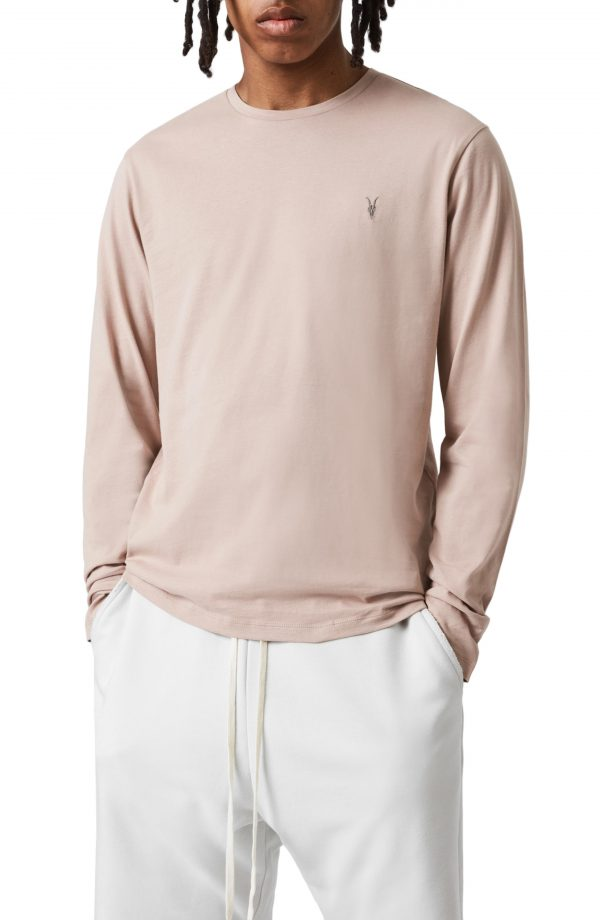Men's Allsaints Brace Long Sleeve Crewneck T-Shirt, Size Small - Coral