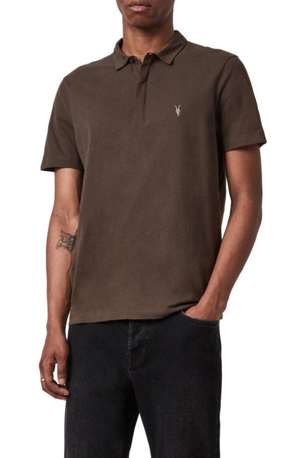 Men's Allsaints Brace Regular Fit Solid Polo, Size Large - Brown