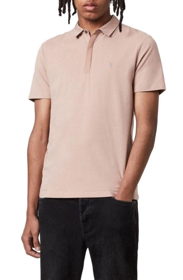 Men's Allsaints Brace Regular Fit Solid Polo, Size Medium - Pink