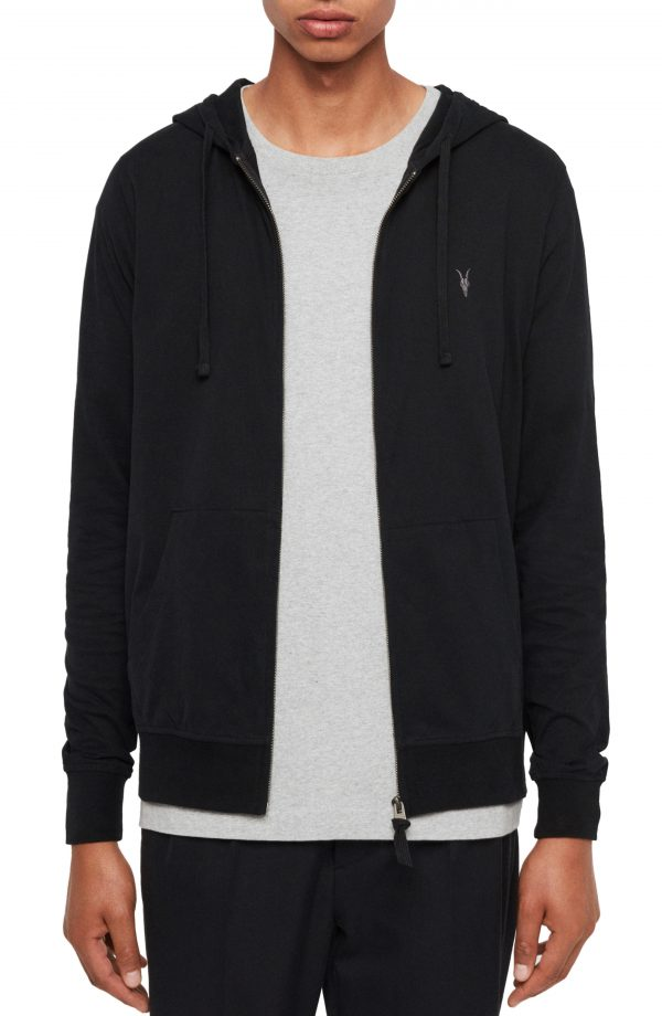 Men's Allsaints Brace Slim Fit Zip Hoodie, Size Large - Black