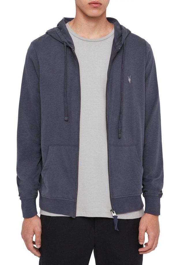 Men's Allsaints Brace Slim Fit Zip Hoodie, Size Large - Blue
