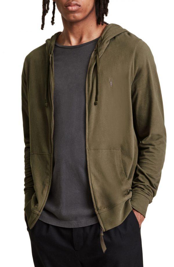 Men's Allsaints Brace Slim Fit Zip Hoodie, Size Medium - Brown