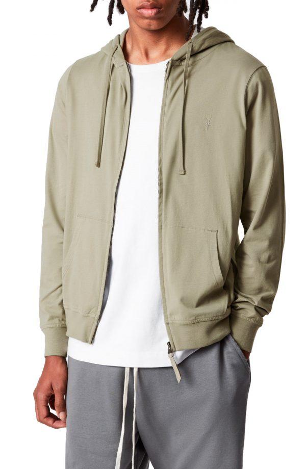 Men's Allsaints Brace Slim Fit Zip Hoodie, Size Medium - Green