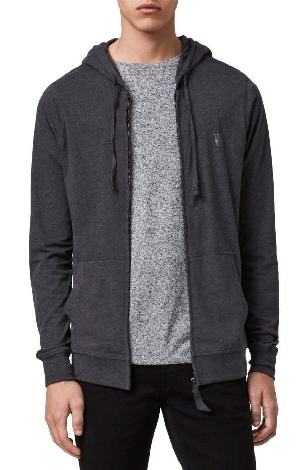 Men's Allsaints Brace Slim Fit Zip Hoodie, Size Medium - Grey