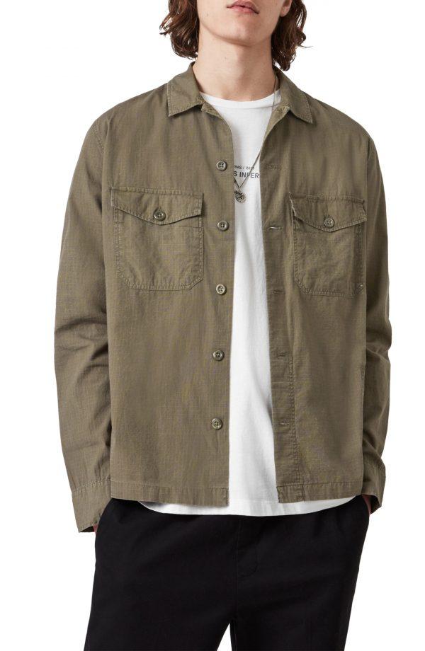 Men's Allsaints Cadre Cotton Overshirt, Size Small - Green