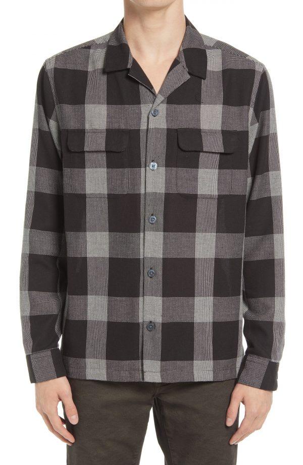 Men's Allsaints Cammargo Button-Up Shirt, Size Small - Black