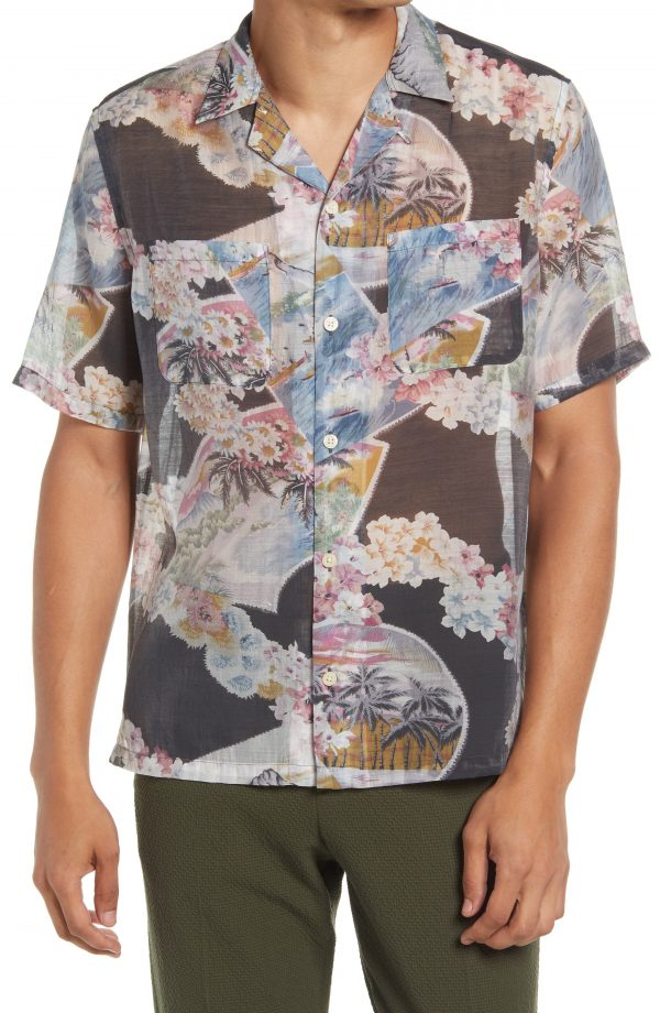 Men's Allsaints Carnation Short Sleeve Button-Up Camp Shirt, Size Medium - Black