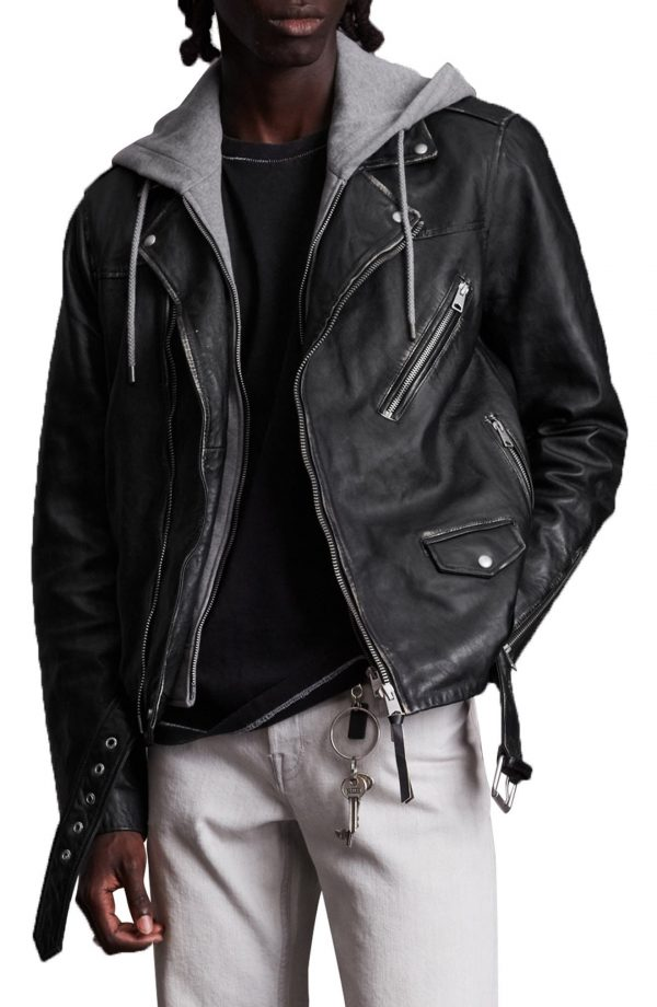 Men's Allsaints Charter Mix Media Leather Biker Jacket, Size Small - Black