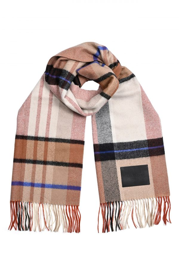 Men's Allsaints Check Logo Wool Scarf, Size One Size - White