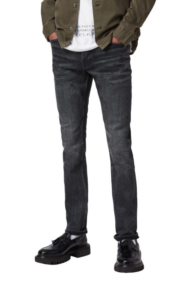 Men's Allsaints Cigarette Skinny Fit Jeans, Size 28 x - Black
