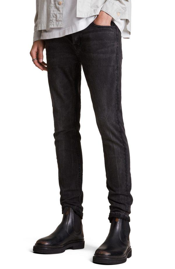 Men's Allsaints Cigarette Skinny Fit Jeans, Size 32 x - Black