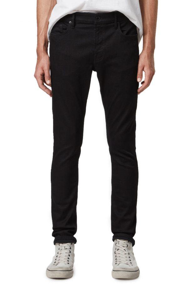 Men's Allsaints Cigarette Skinny Jeans, Size 28 - Black