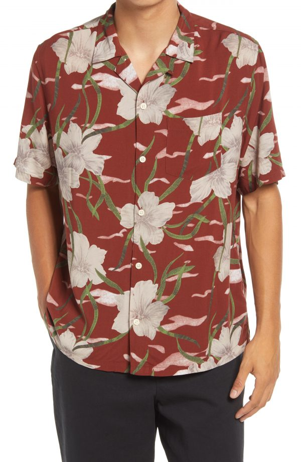 Men's Allsaints Climber Floral Short Sleeve Button-Up Camp Shirt, Size Small - Brown