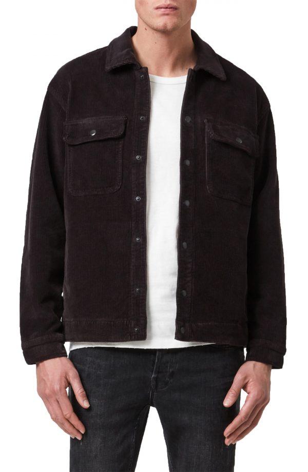 Men's Allsaints Coronet Snap-Up Corduroy Jacket, Size Medium - Black