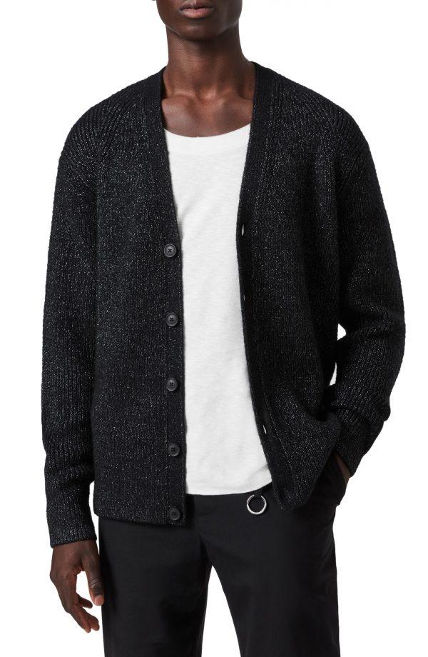 Men's Allsaints Cosmic Wool Blend Cardigan, Size Large - Black