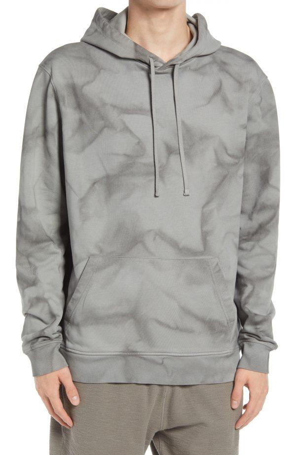Men's Allsaints Cruz Tie Dye Cotton Hoodie, Size Small - Grey