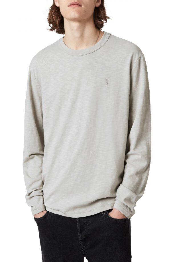 Men's Allsaints Dexter Long Sleeve Cotton T-Shirt, Size X-Small - Grey