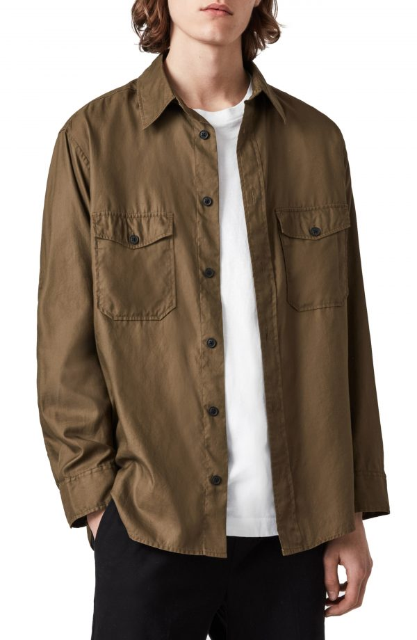 Men's Allsaints Division Cotton Button-Up Shirt, Size X-Small/Small - Green