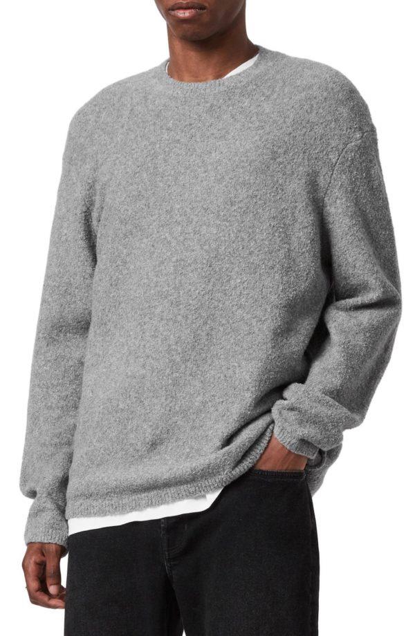 Men's Allsaints Eamont Cotton Blend Crewneck Sweater, Size Large - Grey