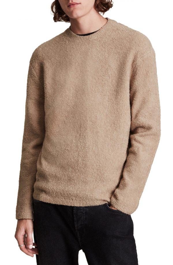 Men's Allsaints Eamont Cotton Blend Crewneck Sweater, Size Small - Beige