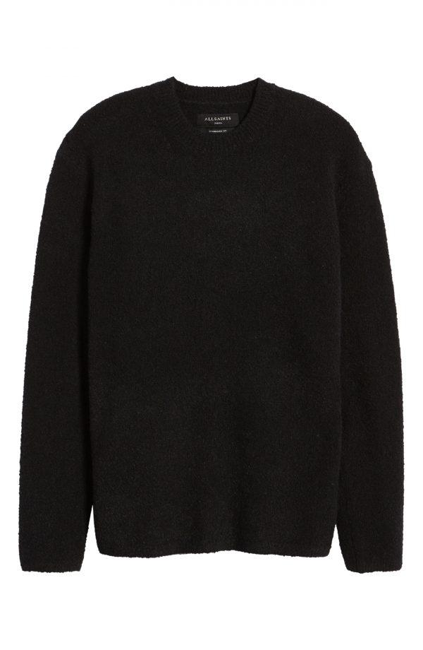 Men's Allsaints Eamont Cotton Blend Crewneck Sweater, Size XX-Large - Black