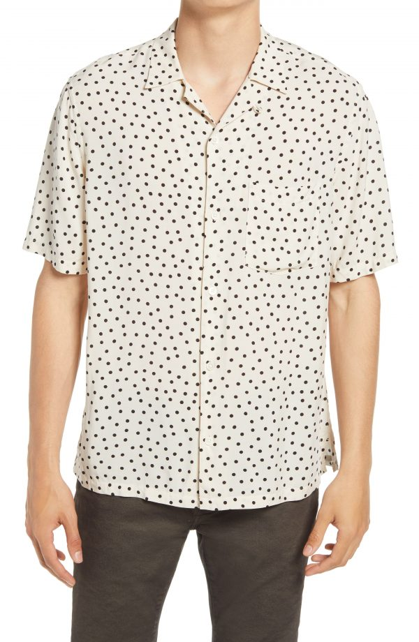 Men's Allsaints Electro Relaxed Fit Short Sleeve Button-Up Camp Shirt, Size X-Large - White