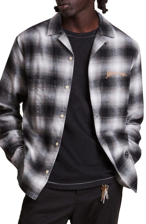 Men's Allsaints Emptyville Cotton Flannel Button-Up Shirt, Size Medium - White
