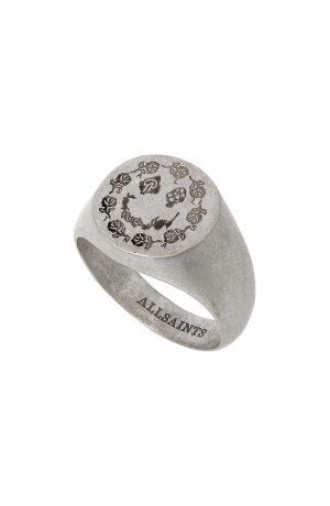 Men's Allsaints Engraved Smile Signet Ring