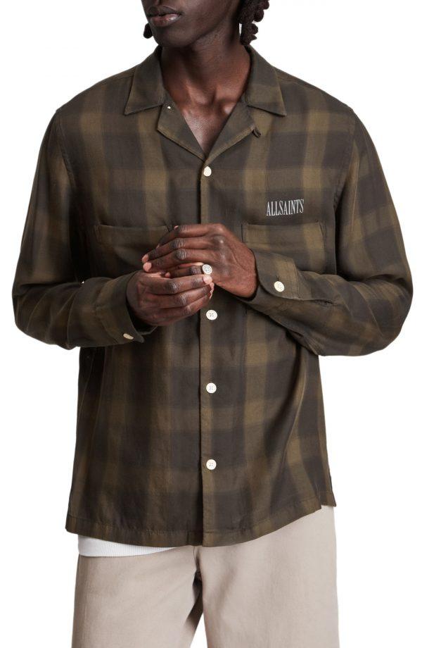 Men's Allsaints Erieville Button-Up Shirt, Size Small - Brown
