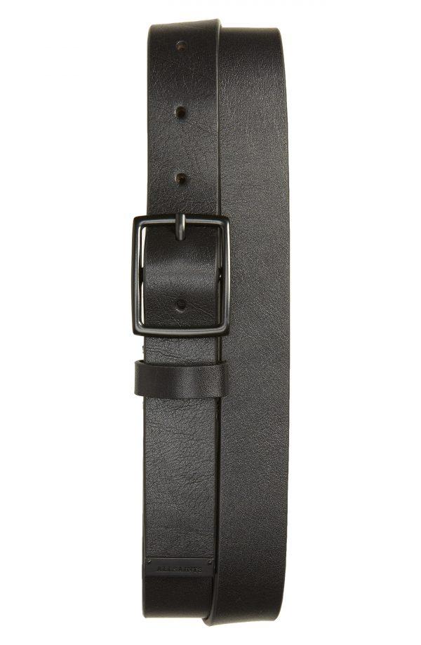 Men's Allsaints Flat Strap Leather Belt, Size 32 - Black