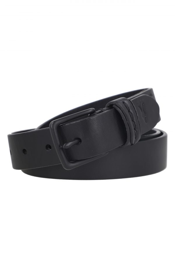 Men's Allsaints Flat Strap Stitch Detail Belt, Size 34 - Black