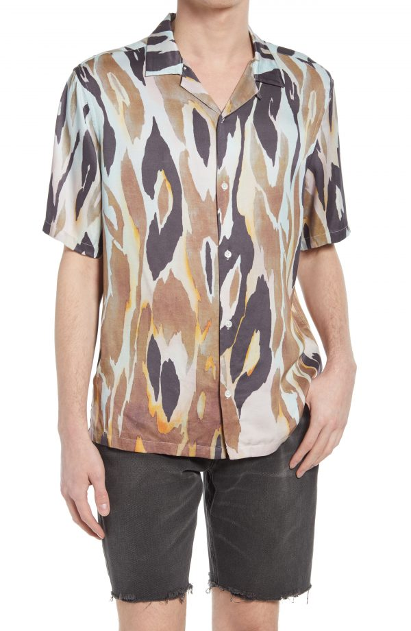 Men's Allsaints Fuego Short Sleeve Button-Up Camp Shirt, Size Small - Ivory