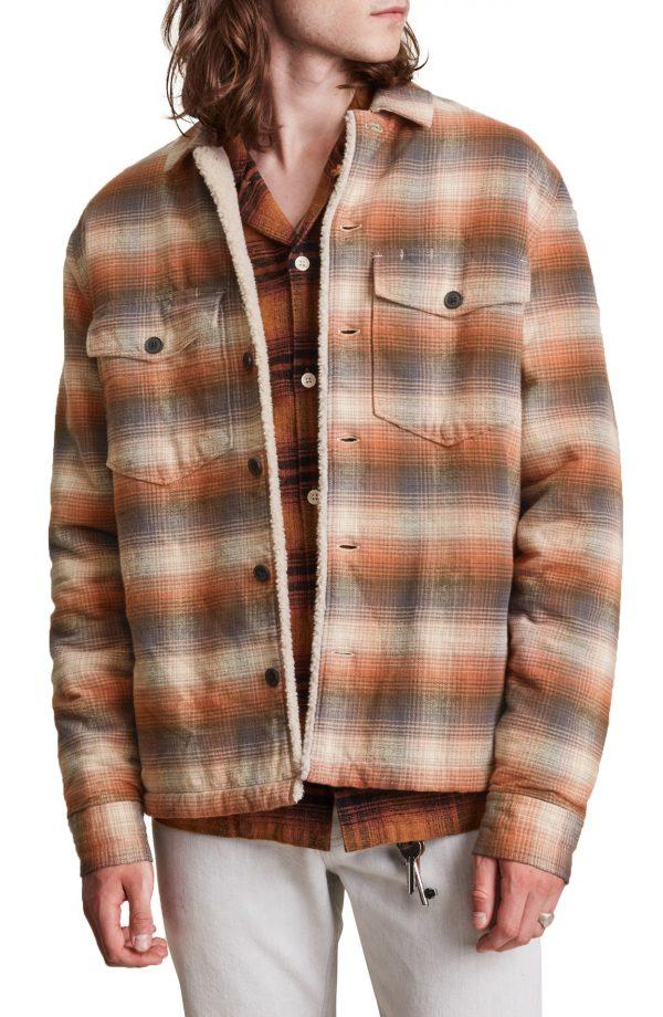 Men's Allsaints Furnace Plaid Shirt Jacket, Size Small - Brown