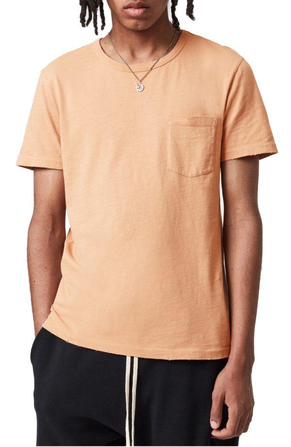 Men's Allsaints Gage Cotton Pocket T-Shirt, Size Small - Coral