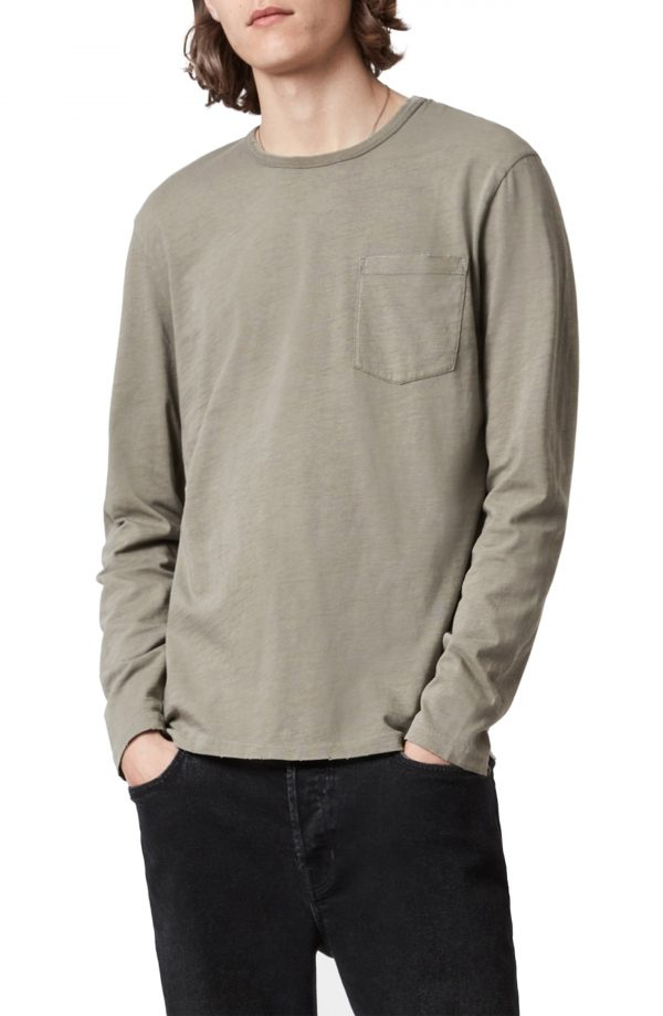Men's Allsaints Gage Long Sleeve Cottont-Shirt, Size Small - Green