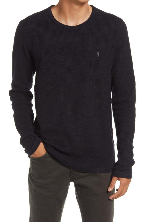 Men's Allsaints Gavin Cotton Long Sleeve T-Shirt, Size Small - Blue