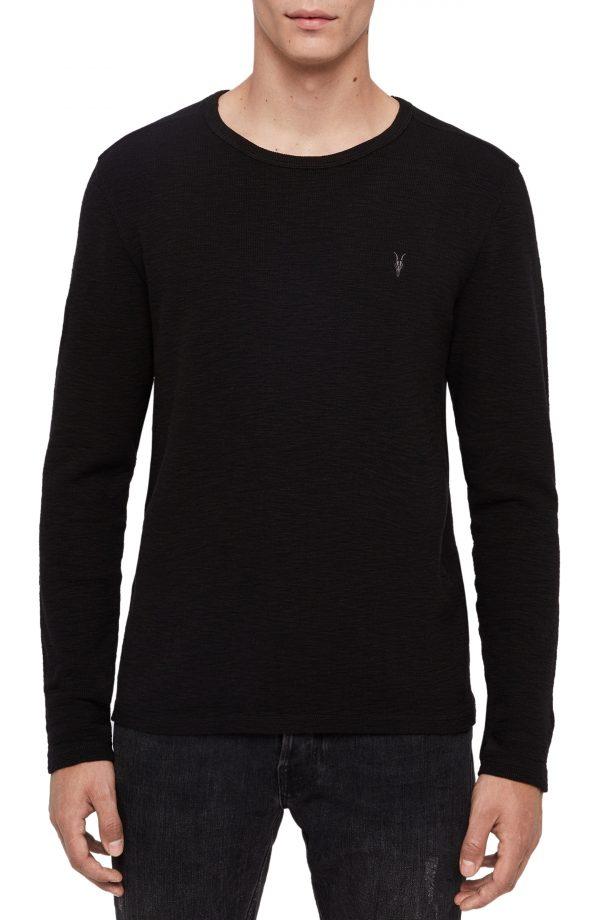 Men's Allsaints Gavin Cotton Long Sleeve T-Shirt, Size X-Large - Black